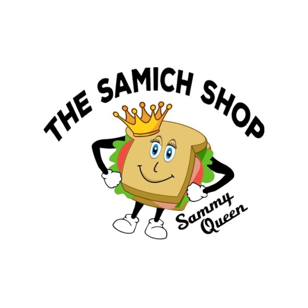 Samich Shop food truck from jefferson county's logo with a sandwich with arms, legs, and facial features wearing a crown
