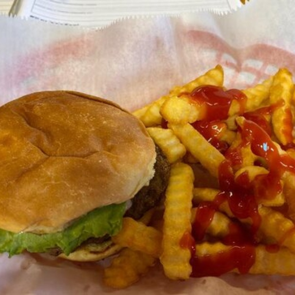 burger and fries from the Burger Barn in White Pine TN
