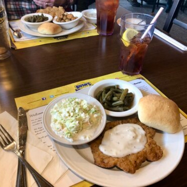 food from bush's family cafe in the bush beans visitor center in east tennessee