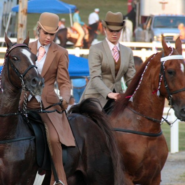 two participants of the Chestnut Hill Horse Show on their horses