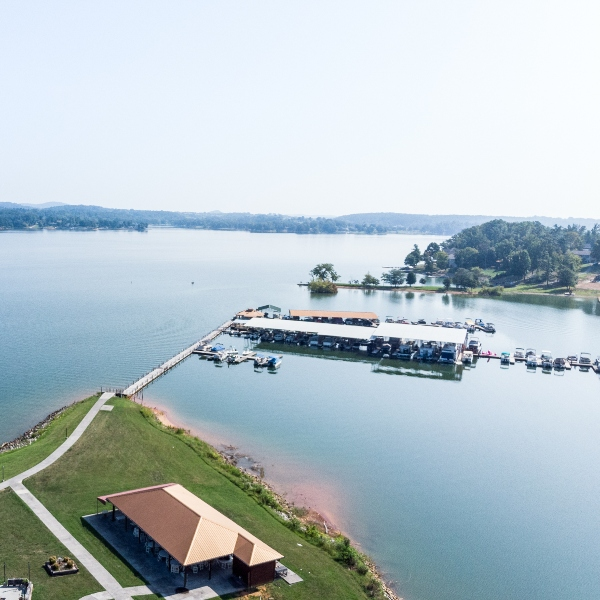 drone view of the point marina and boat dock in dandridge tn
