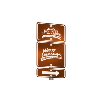graphical version of the Discover Tennessee scenic trails and byways sign for White Lightning Trail in the great smoky mountains