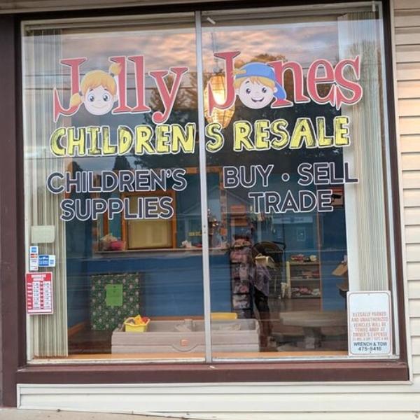 Front window of Jolly Jones.