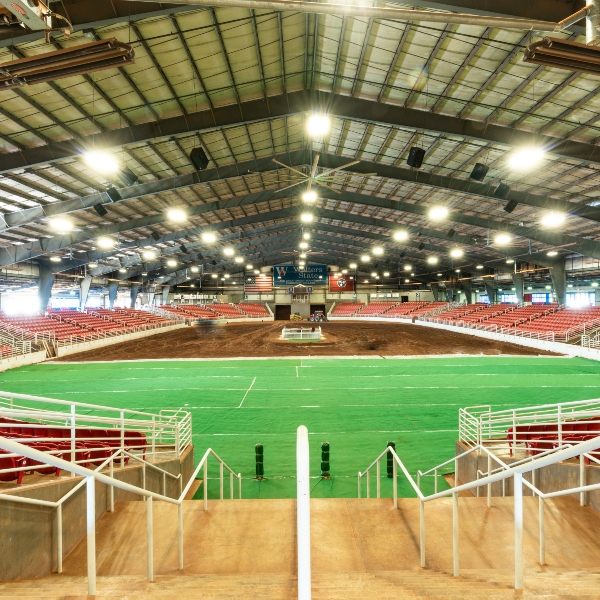 inside of walters state expo center when it's prepped for an equestrian event