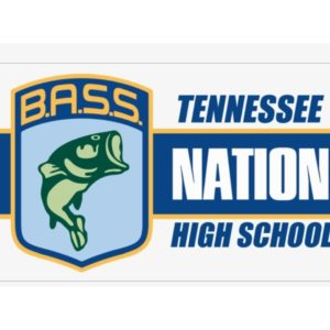 Tennessee BASS Nation High School Tournament logo with a bass fish and white and blue lettering