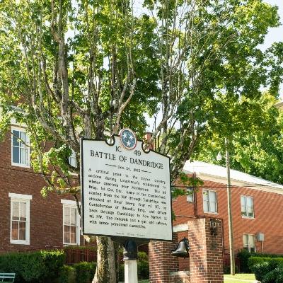 historical marker for the battle of dandridge during the civil ware